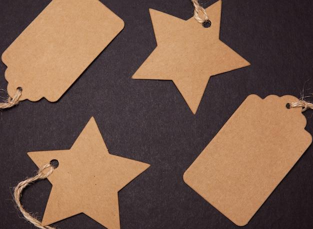 Cartellini dei prezzi a forma di stella e rettangolo Foto Premium