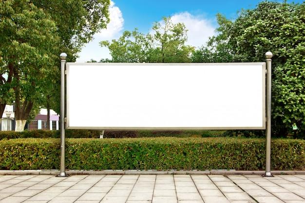 Cartellone bianco del parco Foto Premium