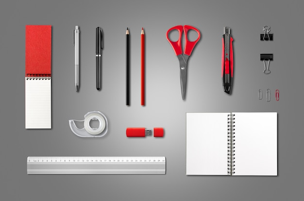 Cartoleria, modello di articoli per ufficio, sfondo ...
