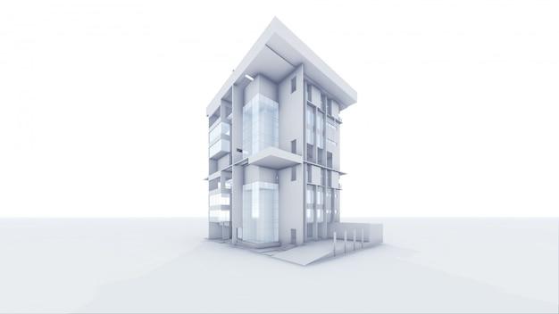 Casa architettonica di prospettiva 3d Foto Premium