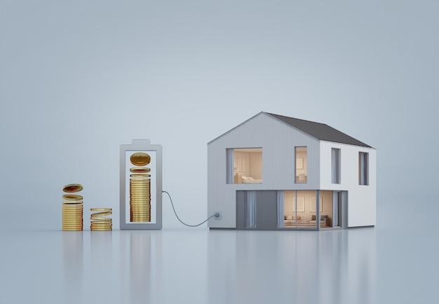 Casa moderna con le monete di oro nel concetto di sviluppo di affari e di investimento della proprietà. Foto Premium