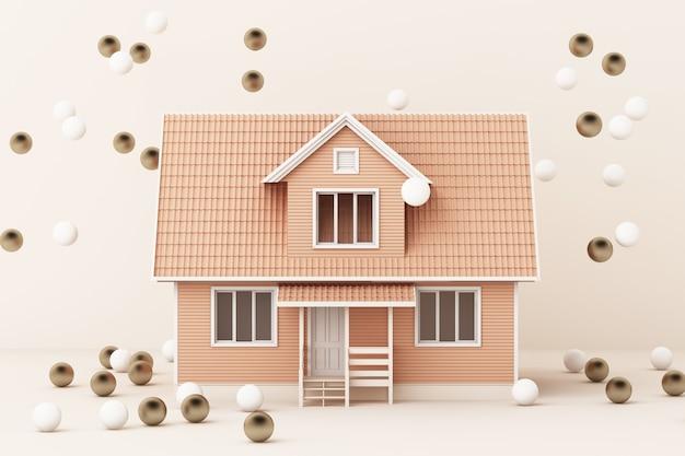 Casa rosa che circonda dall'oro e dalla rappresentazione bianca della palla 3d Foto Premium