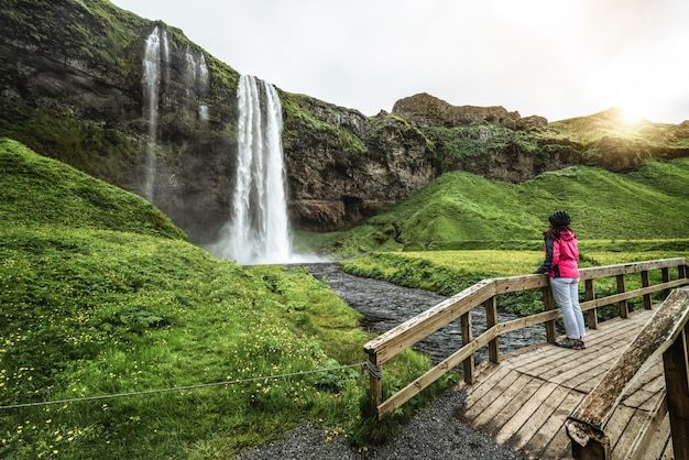 Cascata magica di seljalandsfoss in islanda. Foto Premium