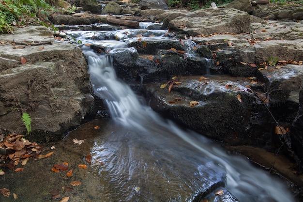 Cascata skakalo nelle montagne carpatiche, transcarpathia, ucraina Foto Premium