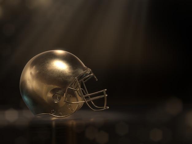 Casco da football dorato. rendering 3d Foto Premium