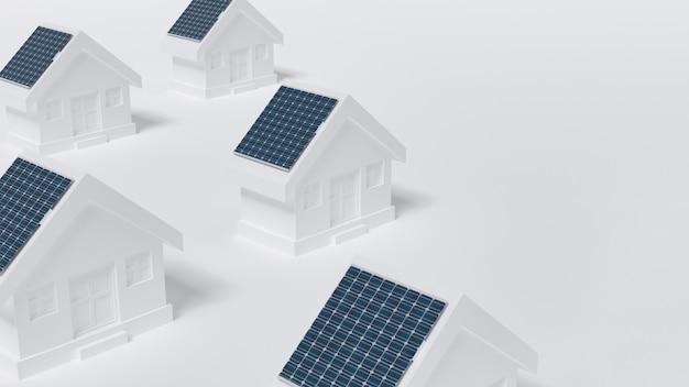 Case con pannello solare sul tetto. Foto Premium