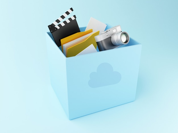Casella di cloud 3d con i file. archiviazione cloud Foto Premium