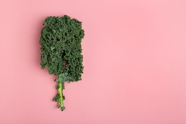 Cavolo verde fresco di disposizione piana su fondo rosa Foto Premium