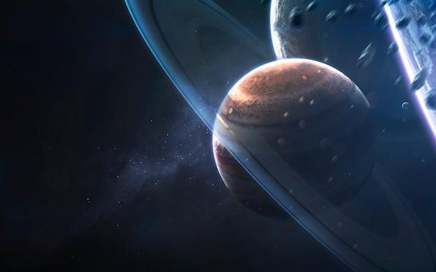 Cerchi brillanti di gigante gassoso, carta da parati di fantascienza fantastica, paesaggio cosmico. Foto Premium