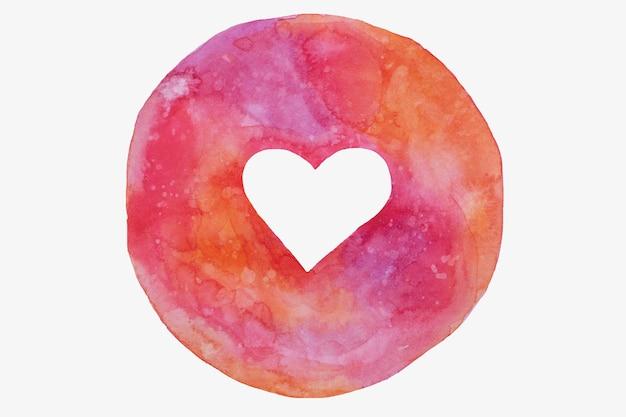Cerchio disegnato a mano con cuore vuoto in tonalità rosa, viola, san valentino. Foto Premium