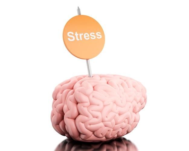 Cervello 3d con un cartello e lo stress di parola. Foto Premium