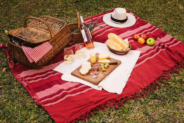 Cestino da picnic con chicche sulla coperta rossa Foto Gratuite