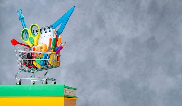Cestino della spesa variopinto dei rifornimenti di scuola grigio con uno spazio del testo della copia. Foto Premium