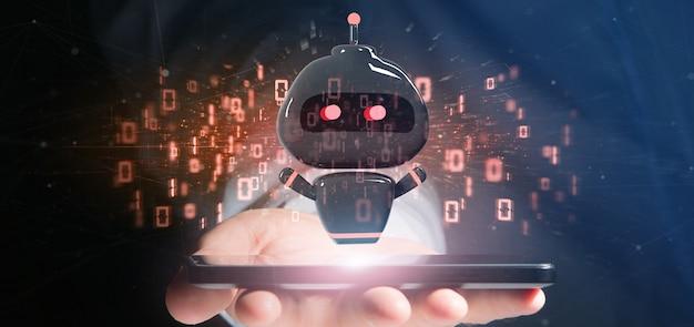 Chatbot del virus della tenuta dell'uomo d'affari con la rappresentazione di codice binario 3d Foto Premium