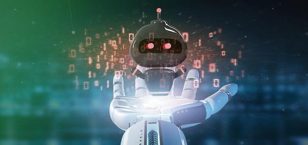 Chatbot del virus della tenuta della mano del cyborg con la rappresentazione di codice binario 3d Foto Premium