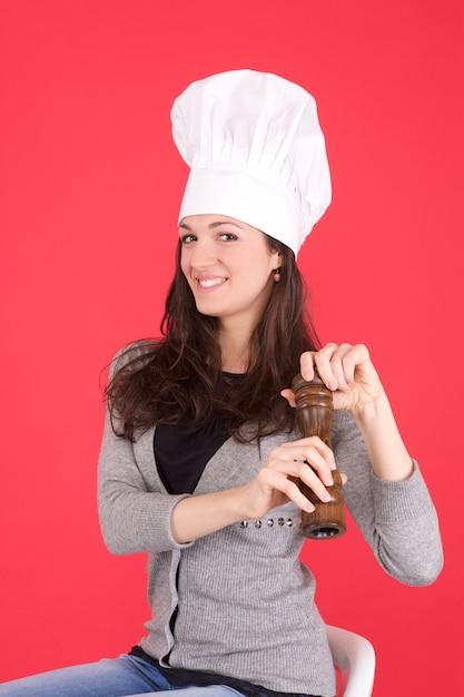 Chef donna con pepe Foto Premium