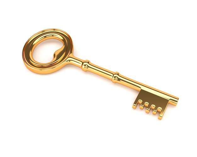 Chiave d'oro isolato su uno sfondo bianco. illustrazione 3d Foto Premium