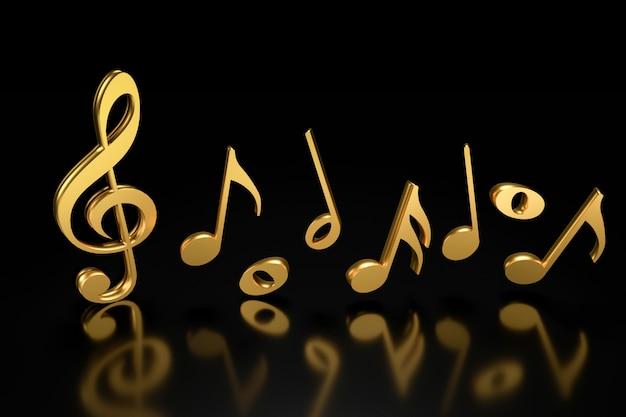 Chiave di violino e notazione musicale. rendering 3d. Foto Premium