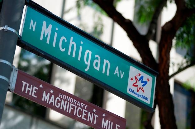 Chicago, michigan avenue Foto Premium