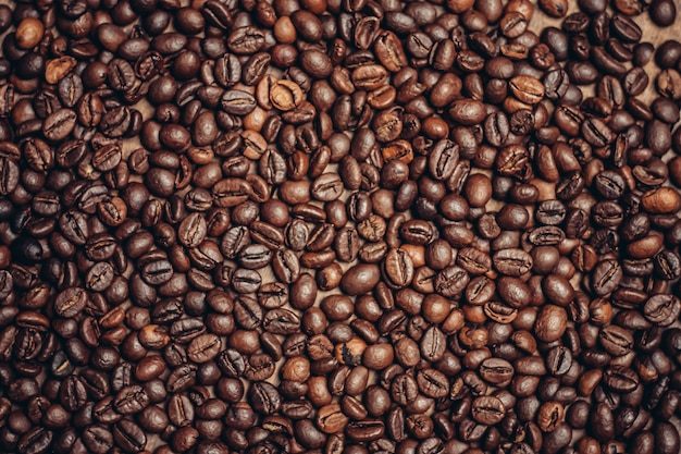 Chicchi di caffè, elementi di caffè tostato Foto Premium