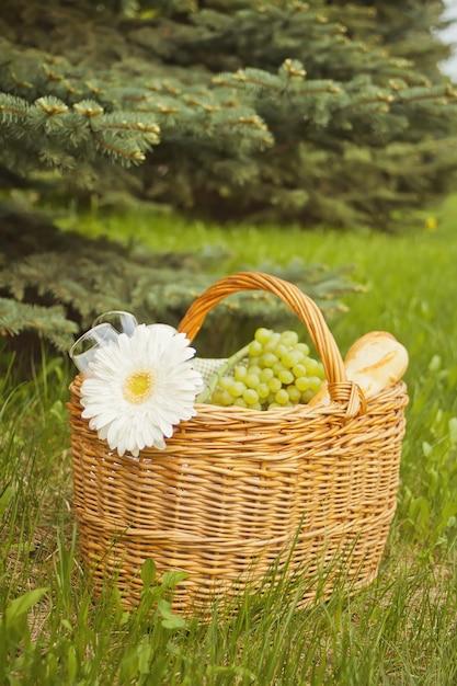 Chiuda in su del cestino di picnic con alimento, frutta e fiore sulla copertura gialla sull'erba verde Foto Premium