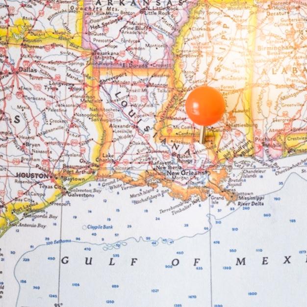 Chiuda sulla mappa del nord america e sul punto Foto Gratuite