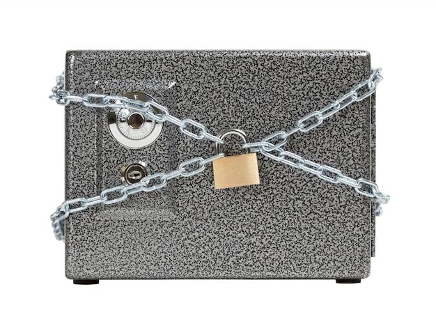 Chiuso sicuro, avvolto in catena. mantenere il concetto di denaro sicuro. Foto Premium