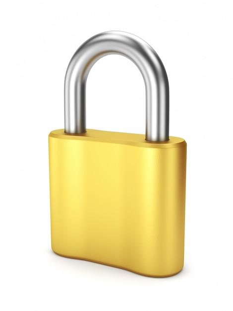 Chiusura in metallo giallo chiusa Foto Premium