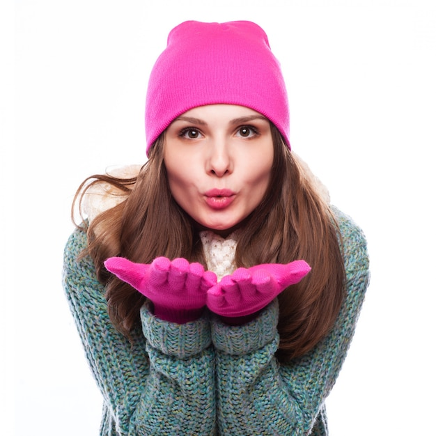 Christmas girl.winter woman blowing snow Foto Premium