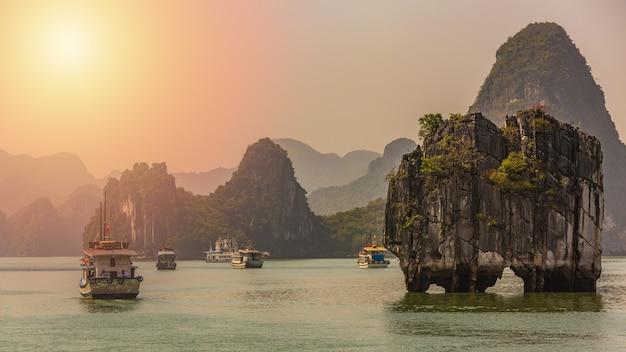 Ciarpame turistici che galleggiano tra le rocce calcaree nella baia di ha long Foto Premium