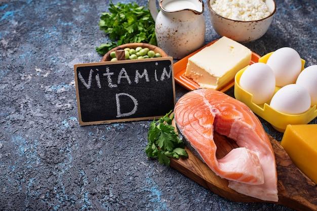 Cibi sani contenenti vitamina d Foto Premium