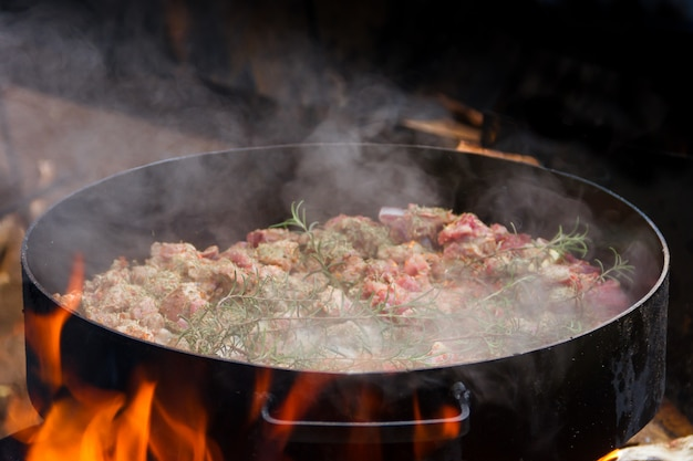 Cibo al disco dell'aratro tipico della gastronomia argentina Foto Premium