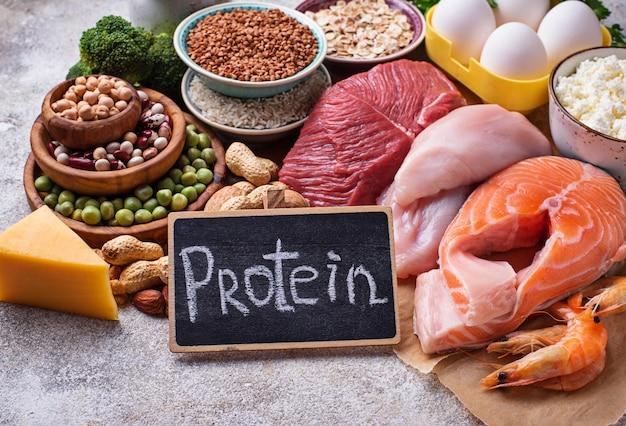 Cibo sano ad alto contenuto di proteine Foto Premium