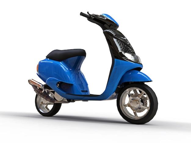 Ciclomotore nero e blu urbano moderno su una superficie bianca Foto Premium