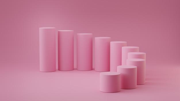 Cilindro vuoto di punti di rosa pastello su fondo blu. rendering 3d. Foto Premium