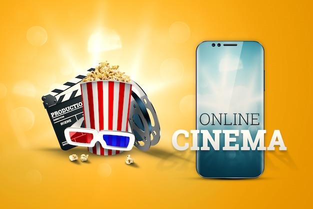 Cinema, attributi del cinema, cinema, film, visione online, popcorn e bicchieri. Foto Premium