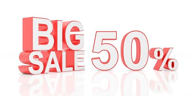 Cinquanta per cento in vendita. grande vendita per banner del sito. rendering 3d. Foto Premium