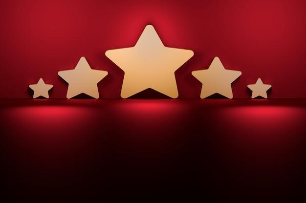 Cinque stelle di varie dimensioni accanto al muro viola rosso scuro illuminato dalla luce. Foto Premium