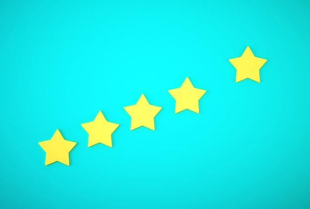 Cinque stelle gialle. il miglior concetto di esperienza del cliente eccellente valutazione. Foto Premium