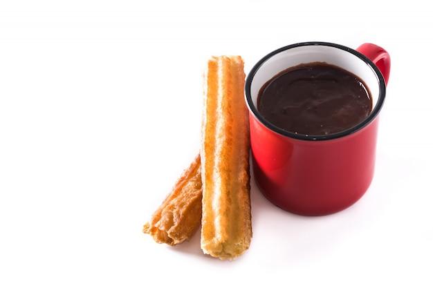 Cioccolata calda con churros isolato su bianco Foto Premium