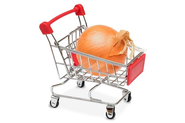 Cipolla nel carrello del supermercato Foto Premium