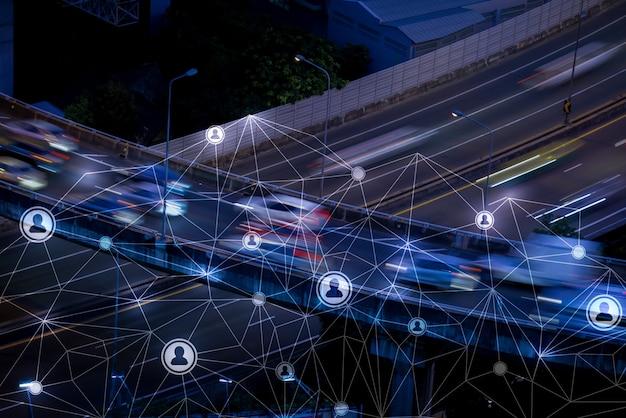 Circolazione delle persone a londra come concetto di rete e risorse umane Foto Premium