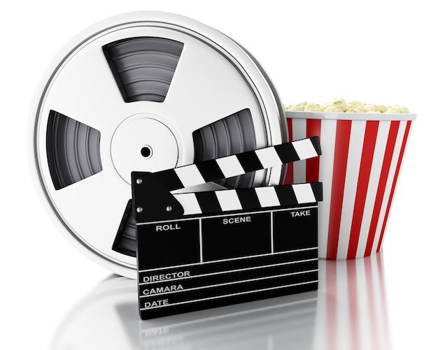 Clapper 3d cinema, bobina cinematografica e popcorn. Foto Premium