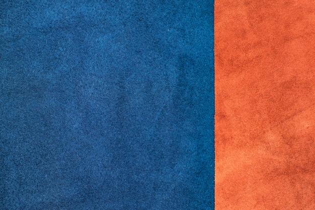 Close Up Dividere In Pelle Scamosciata Blu Navy E Arancio A Uno