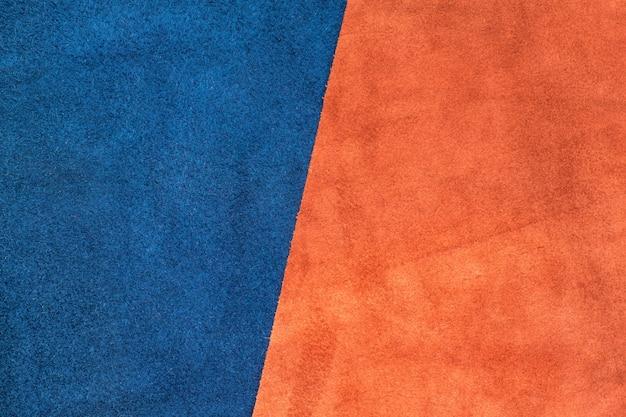 Close Up Dividere Pelle Scamosciata Blu Navy E Arancio A Metà