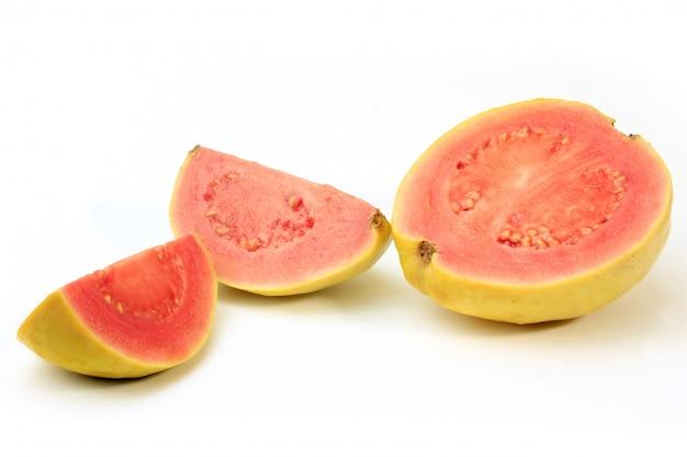 Close-up guava fruit, rosa, fresco, organico Foto Premium