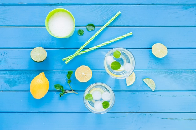 Cocktail mojito in bicchieri con agrumi Foto Gratuite