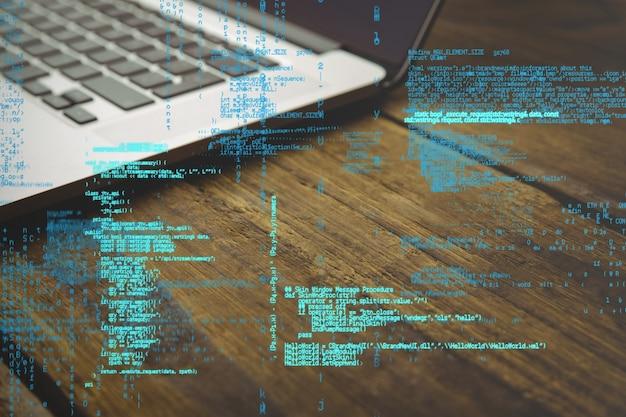 Codice di programmazione con sfondo laptop Foto Gratuite