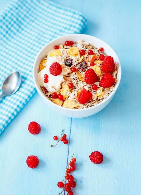 Colazione deliziosa con fiocchi d'avena, frutta secca e yogurt Foto Premium