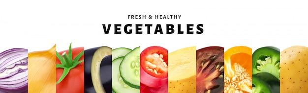 Collage della verdura isolato su bianco con lo spazio della copia, primo piano fresco e sano delle verdure Foto Premium